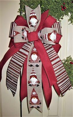 DARK RED on GREY WIRED BOW WREATH SWAG GARLAND MAIL # 109 rb SNOWMEN