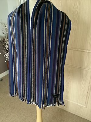 Austin Reed Blue Striped Pure New Wool Scarf Excellent Condition Worn Once 5 00 Picclick Uk