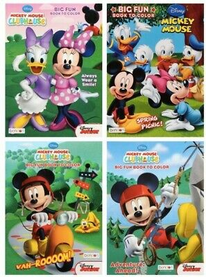 4 BOOKS- 4-80 Page:Disney Mickey Mouse Big Fun Coloring Books for Boys and Girls