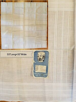"""Antique Calendered Linen Springmaid A20 Fabric Sewing Table Linens Prim 33"""" Sq"""