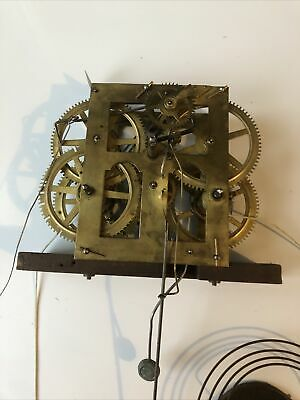 Antique 30 Hour Jerome Og Clock Movement, Pendulum  And Gong For Spares