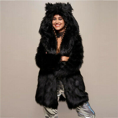 Womens Winter Fluffy Thick Soft Faux Fur Tier Panel Fluffy Jacket Warm Zip Coat