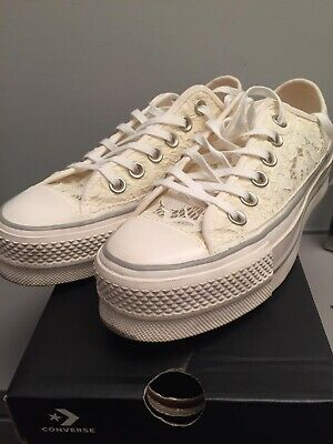 CONVERSE ALL STAR Platform Bianche Donna Ricami Sneakers - EUR 50 ...