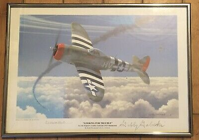 """/""""Calm Before the Storm/"""" Jim Laurier Print Signed by Gabby Gabreski and Hub Zemke"""