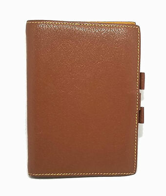 Authentic HERMES notebook cover agenda GM leather brown