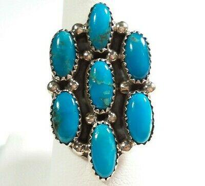 Turquoise Ring Size 9.5 D Navajo Handmade Sterling Silver Cluster BLOCK Begay