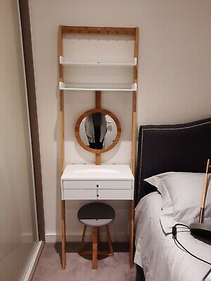 White Bamboo Mini Dressing Table Vanity From The Futon Company 10 00 Picclick Uk