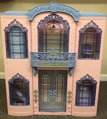 Vintage Barbie Grand Hotel 2001 Fold Up Doll House W Furniture Accessories 250 00 Picclick
