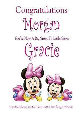 Congratulations New Big Sister A5 Card Birth Baby Keepsake Picture Sister
