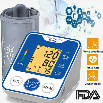 Blood Pressure Monitor Upper Arm Digital Pulse Tester BP Cuff Automatic Voice