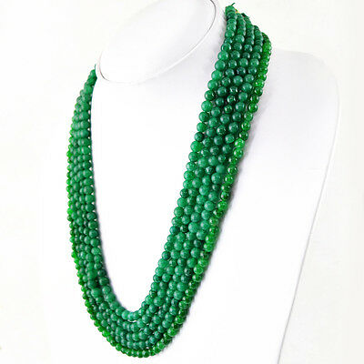 719.60 CTS EARTH MINED SINGLE STRAND GREEN EMERALD ROUND SHAPE BEADS NECKLACE