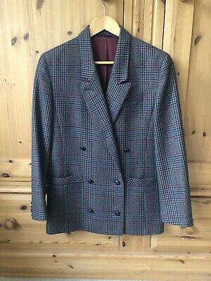 Ladies smart vintage double breasted jacket 80s 90s Michael Jacobs Dublin cream and navy UK10