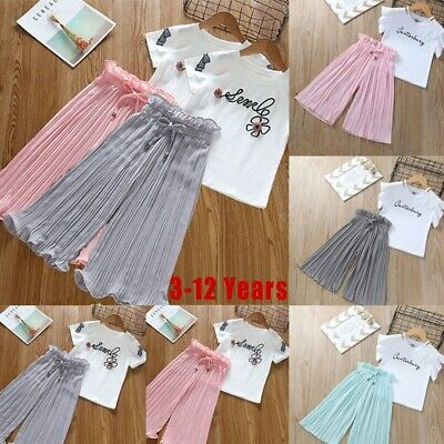 Fashion Kids Baby Girls Letter T-Shirt Tops+Ruffle Loose Pants Outfits Clothes