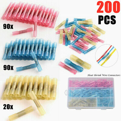 200x Heat Shrink Butt Connectors Crimp Connector Kit Insulated Electrical Butt