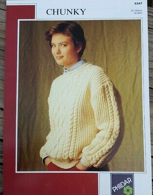 FLASH SALE! UNISEX CABLE SWEATER//CARDI BY PHILDAR RARE KNITTING PATTERN
