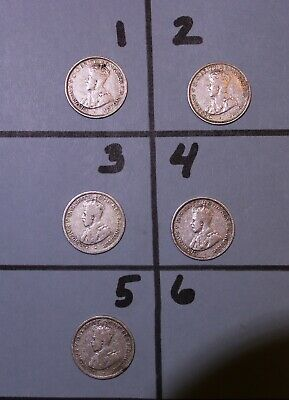 1926 Australian RARE Six Pence Coins Lot of 5 (With & Without Serif)