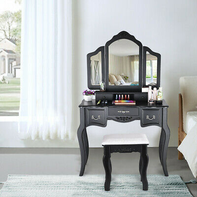 ❥Vanity Beauty Makeup Table And Wooden Stool 3 Mirrors And 5 Organization