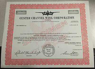 Custer Channel Wing Corporation Stock Certificate  1968