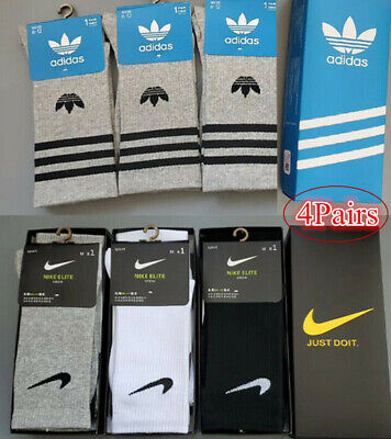 4 Pairs Sport Cotton Long Socks Men Women Socks Cushion Crew Training Socks