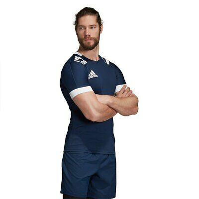 Rugby Shirt Adidas Mens 3 Stripes Fitted Top Teamwear Match Jersey 3S Navy