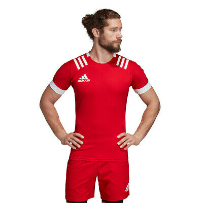 Rugby Shirt Adidas Mens 3 Stripes Fitted Top Teamwear Match Jersey 3S Red