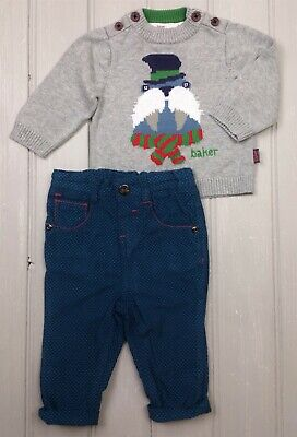 TED BAKER Baby Boys Walrus Jumper & Cord Trousers Jeans Outfit 0-3 Months VGC