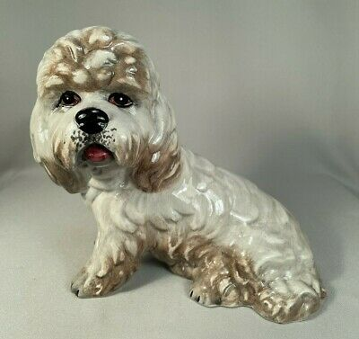 Large Vintage Figurine Of A Dandie Dinmont Terrier Dog, Marked Italy