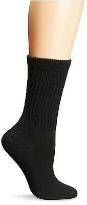 PEDS Women's Diabetic Crew Socks with Coolmax and Non-Binding, Black, Size 7.0 X