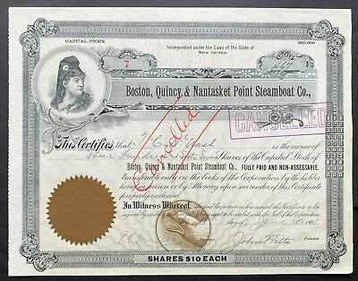 1901 BOSTON, QUINCY & NANTASKET POINT STEAMBOAT CO. Stock Certificate MASS. #7