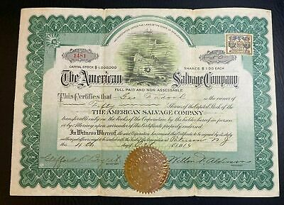 1916 AMERICAN SALVAGE COMPANY Stock Certificate World War 1 Ships