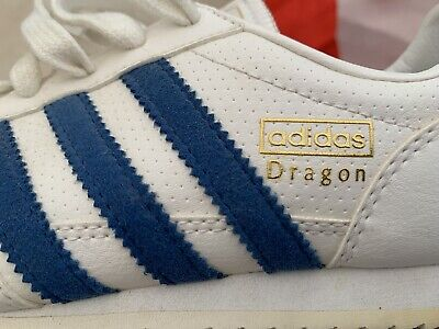 ADIDAS LADIES WHITE blue leather dragon trainers size 4 - $21.16 ...
