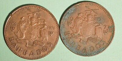 1976 + 1973 Barbados One Cents - INV# L-63