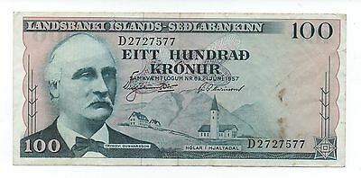 Iceland 100 Kronur 1957 Pick 40 Look Scans