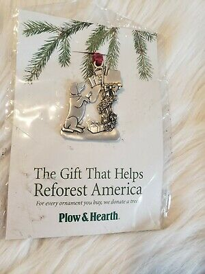 New Plow & Hearth Dog & Mailbox Pewter Ornament Outer Packaged Damaged
