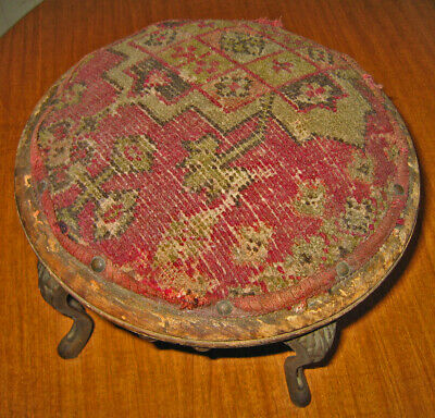 Antique Victorian Tapestry Footstool With Cast Iron Legs