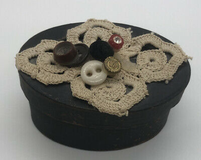 Antique Victorian Cardboard Trinket Box With Crocheted Lace Pattern & Buttons
