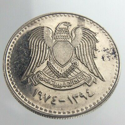 1974 Syria 50 Piastres KM 108 Falcon of Qureish AH1394 Great Example Coin U135