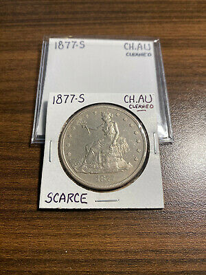 1877-S Trade Silver Dollar T$1 CHOICE ALMOST UNCIRCULATED (CH.AU) Cleaned RARE