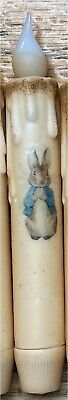 """BUNNY RABBIT BLUE JACKET TIMER TAPER CANDLE Grungy 6.5"""" Spring Easter Cottage"""