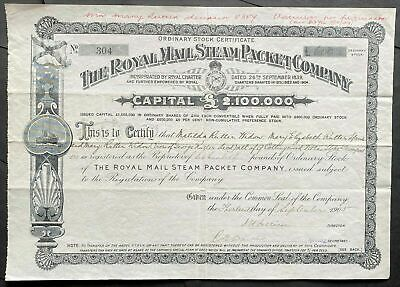 1905 THE ROYAL MAIL STEAM PACKET COMPANY Stock Certificate UK