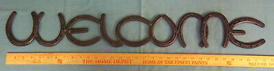 Real Welded Horseshoes Large Metal WELCOME Sign Black Handmade Horse Barn Stall