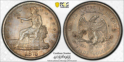1875-S Trade Silver Dollar T$1 PCGS Genuine ALMOST UNCIRCULATED Detail Cleaned