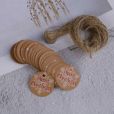 100PCS Merry Christmas Kraft Paper Gift Tags with Jute Twine DIY Crafts YXAU