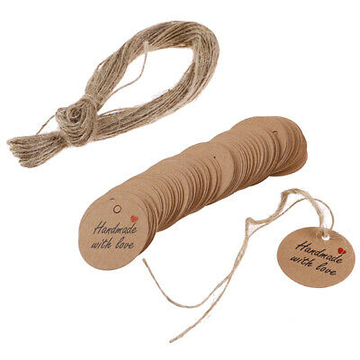 100Pcs Handmade with Love Labels Hang Tags Blank Kraft Paper with 20m StYXAU