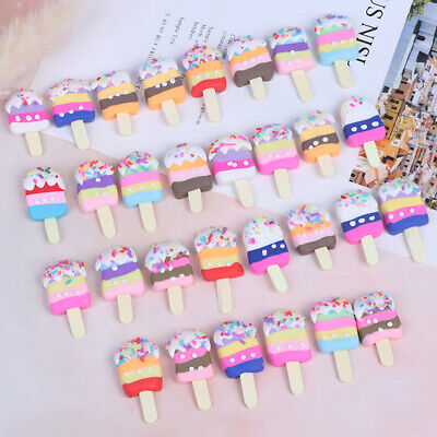 6Pcs Polymer Clay Popsicle Ice Cream Miniature Food Models Dollhouse AccessoYXAU
