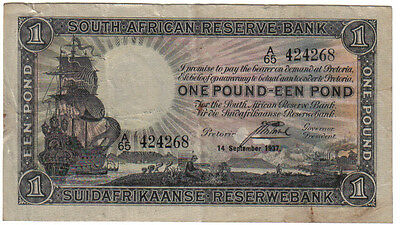 South Africa 1 Rand September 1937 Pick 84 Look Scans