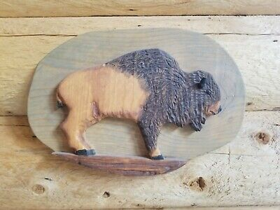 Unique Hand Carved Wood Buffalo Carving  Made In USA Utah Artist