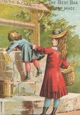 Victorian Tradecard Be Careful Willie Don't Fall Kids at Well   ACME SOAP