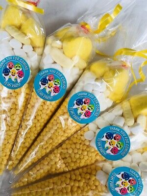 Baby Shark Thank You For Coming Party Sweet Candy Cones Sweets Cone Yellow