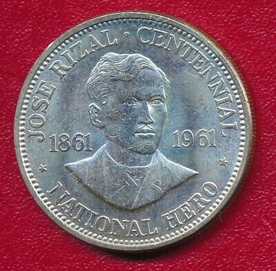 Philippines 1961 Silver One Peso Commemorative Coin **Nice Circulated**
